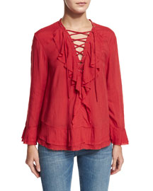 Finley Ruffled Lace-Up Top, Poppy Red