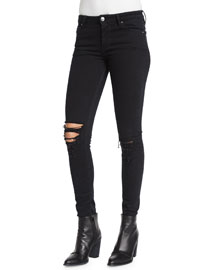 Irma Distressed Skinny Denim Jeans, Black