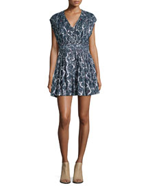 Flavia Metallic Silk Cap-Sleeve Dress