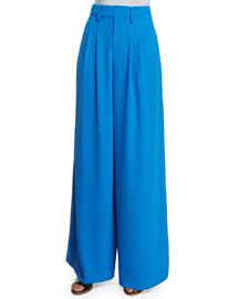 Eloise Straight Wide-Leg Pants, Royal Blue
