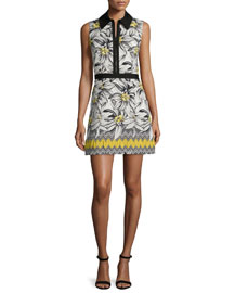 Elli Collared Floral Shirtdress, Multicolor
