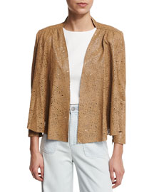 Vanna Laser-Cut Leather Jacket, Tan