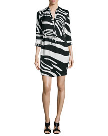Freya Zebra-Print Drawstring Dress, Black/White