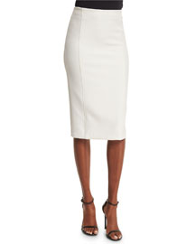 Jarrett Seamed Pencil Skirt, White