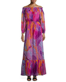 Off-the-Shoulder A-Line Maxi Dress, Color Blast Pink