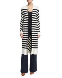 Long-Sleeve Carlisle Silk-Blend Cardigan, Natural/Black