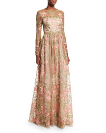 Long-Sleeve Floral-Embroidered Gown