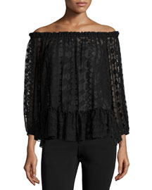 Embroidered Chiffon Off-the-Shoulder Top, Black