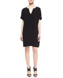 Kora Short-Sleeve Shift Dress, Black