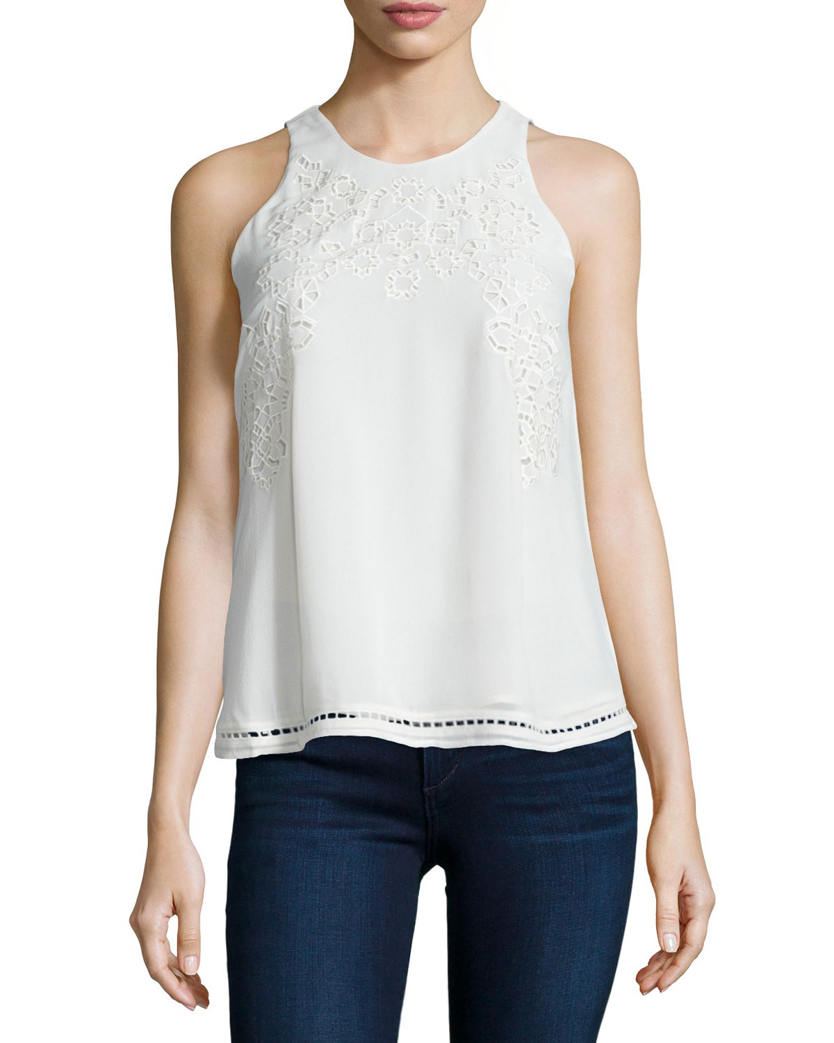 Joie Perdue Crocheted Sleeveless Top, Size: M, Porcelain