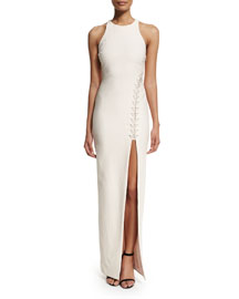 Amya Sleeveless High-Slit Maxi Dress, Black