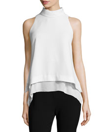 Everly Sleeveless Layered-Hem Top, Ivory