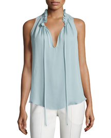 Katrina Ruffle-Neck Top, Jewel Blue