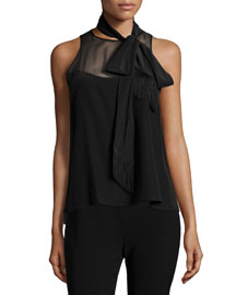 Carla Sleeveless Tie-Neck Top, Black