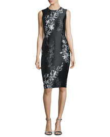 Sleeveless Jewel-Neck Floral Sheath Dress