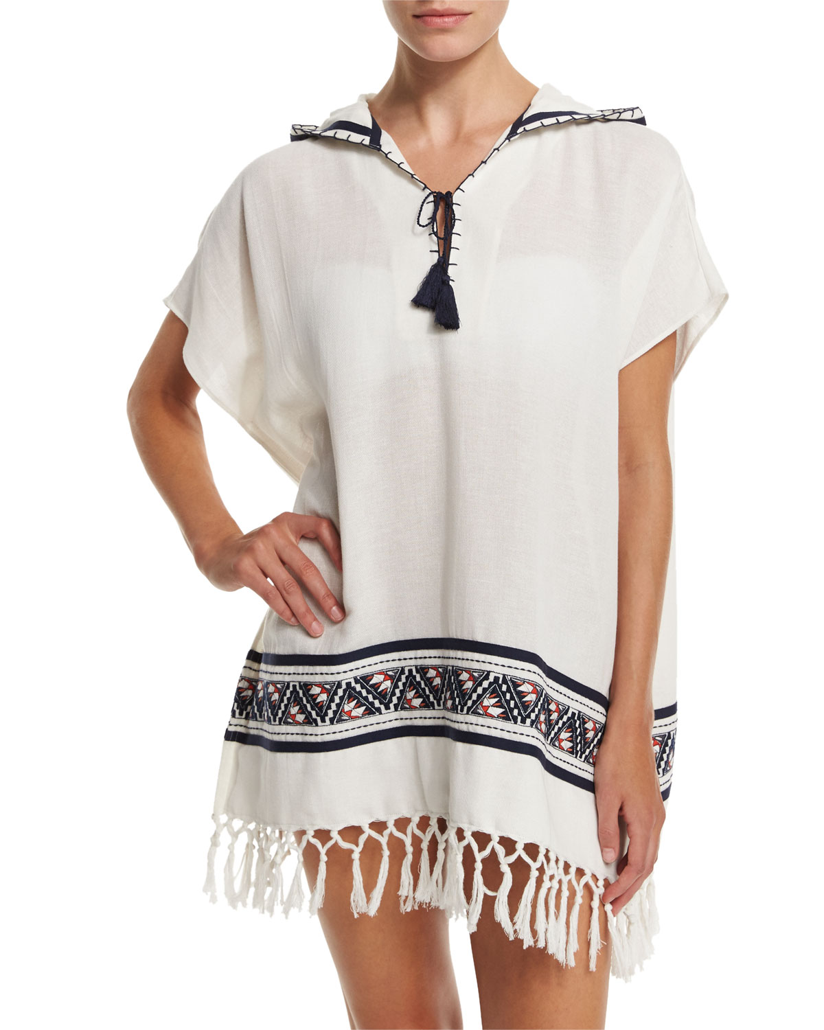 Tory Burch Embroidered Beach Poncho Coverup with Hood, Size: MEDIUM/LARGE, New Ivory/Acoma