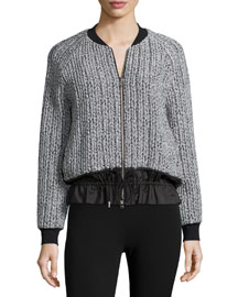 Knit Zip-Front Bomber Jacket, Platinum