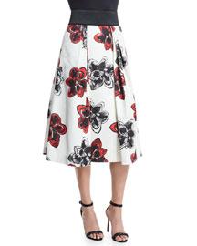 Katie Magnolia-Print Pleated Midi Skirt