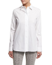 Long-Sleeve Poplin Button-Front Blouse, Optic White