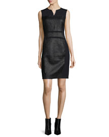 Anya Sleeveless Coated Tweed Sheath Dress