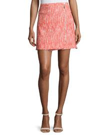 Tweed Zip-Front Skirt, Poppy
