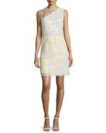 Sleeveless Floral Organza Sheath Dress, White/Yellow