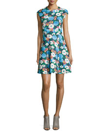 Floral-Print A-Line Dress, Blue