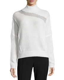 Della Mock-Neck Boucle Sweater