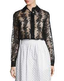 Long-Sleeve Sheer Floral Organza Blouse, Black