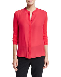 Elaine Long-Sleeve Crepe/Jersey Blouse