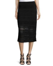 Crochet-Knit Midi Pencil Skirt, Black