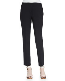 Jillian Slim Wool Pants, Black