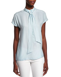 Short-Sleeve Tie-Neck Striped Top, Sky Blue