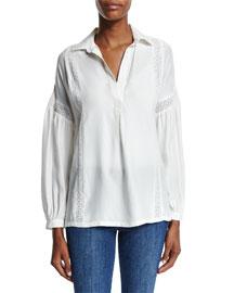 Le Lace Trim Long-Sleeve Top, Off White