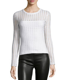 Long-Sleeve Jacquard Eyelet Top, White