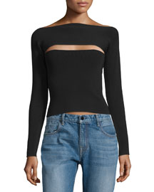 Long-Sleeve Knit Cutout Top, Black