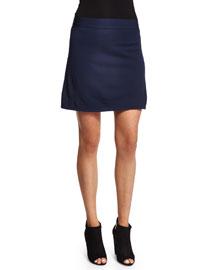 Full-Needle Knit A-Line Skirt, Marine