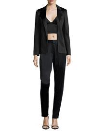 Stretch-Satin Pleated Pants, Black