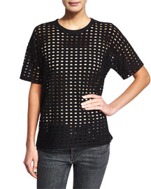 Short-Sleeve Eyelet Jacquard Tee, Black