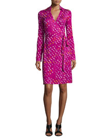 Long-Sleeve Polka-Dot Wrap Dress, Daisy Buds