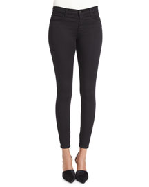Mid-Rise Ankle-Zip Jeans, Black