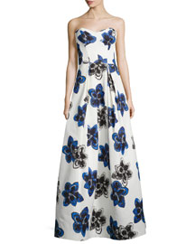 Strapless Floral-Print Ball Gown, Sapphire