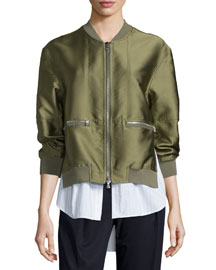 Ribbed-Trim Satin Bomber Jacket, Everglade