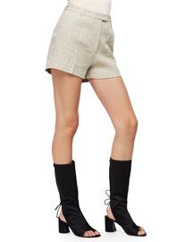 Linen-Blend Flat-Front Shorts, Wheat