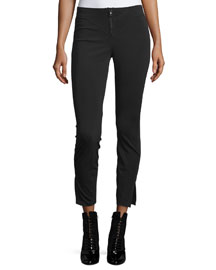 Scuba-Knit Ankle Pants, Black