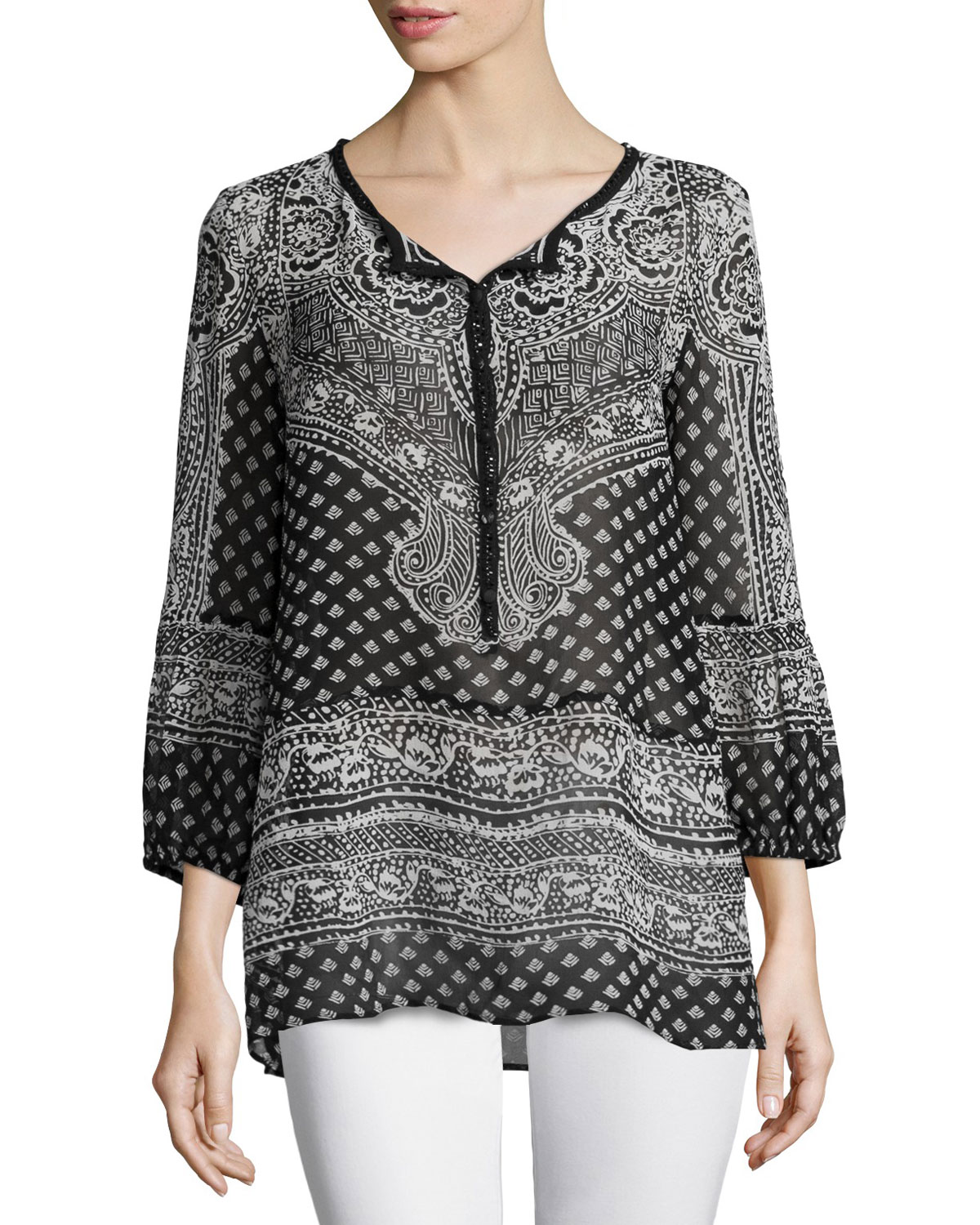 Calypso St. Barth Moi Long-Sleeve Printed Top, Black, Size: XS