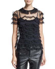 Short-Sleeve Ruffle-Lace Top, Black