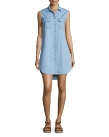 Slim Signature Sleeveless Shirtdress, Blue