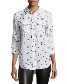 Slim Signature Star-Print Shirt, White Pattern
