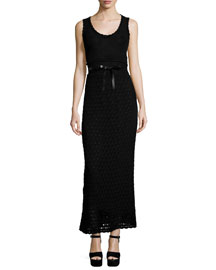 Sleeveless Scoop-Neck Crochet Dress, Black